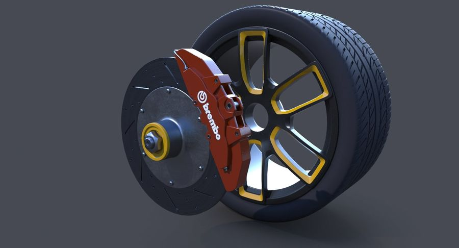 Racing Wheel royalty-free 3d model - Preview no. 7
