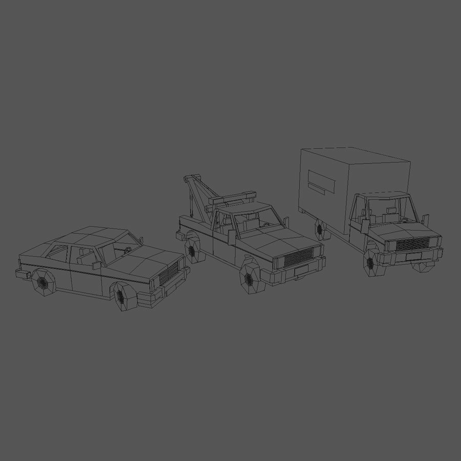 Paper vehicles (cartoon) royalty-free 3d model - Preview no. 4