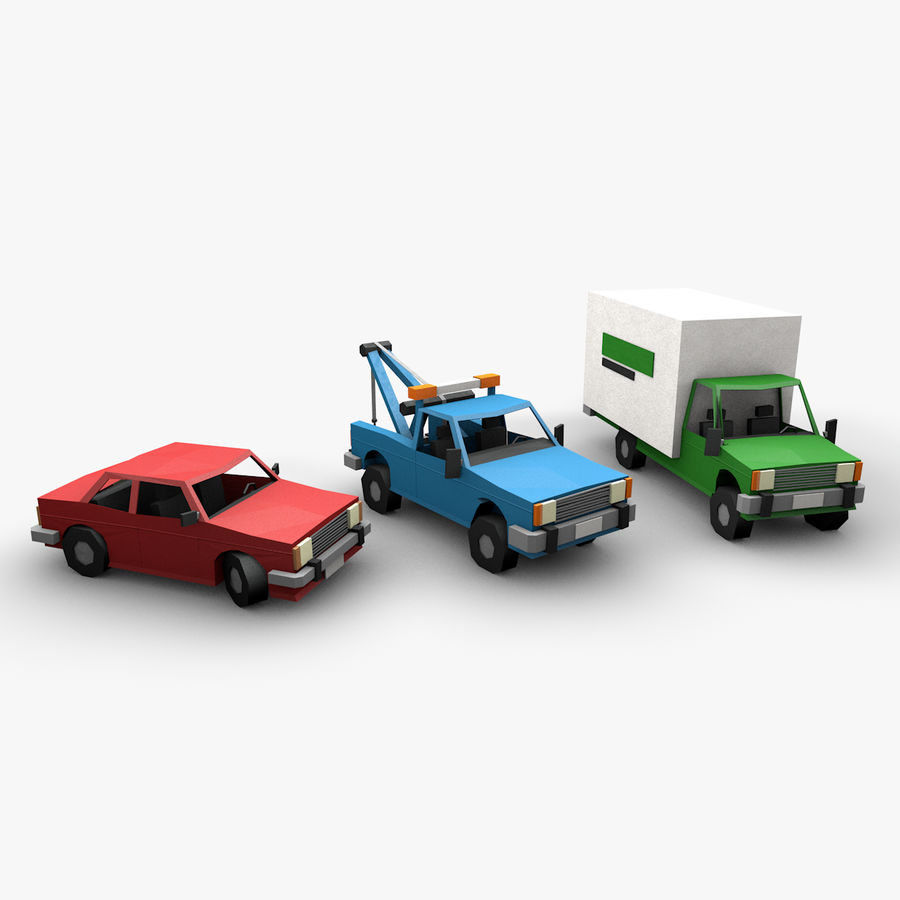 Paper vehicles (cartoon) royalty-free 3d model - Preview no. 1