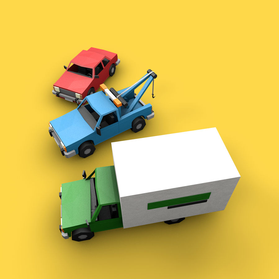 Paper vehicles (cartoon) royalty-free 3d model - Preview no. 7
