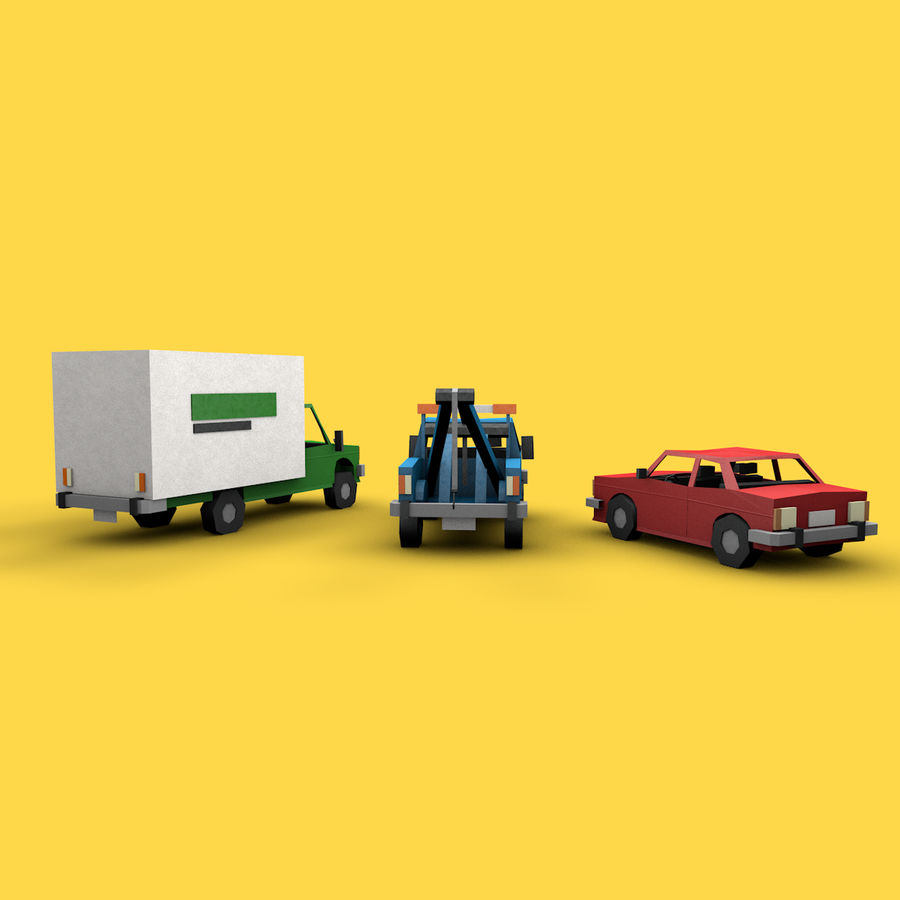 Paper vehicles (cartoon) royalty-free 3d model - Preview no. 6
