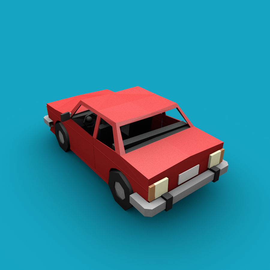 Paper vehicles (cartoon) royalty-free 3d model - Preview no. 8