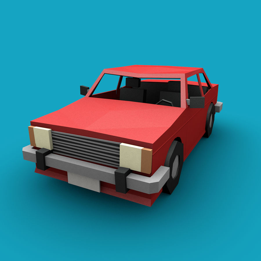 Paper vehicles (cartoon) royalty-free 3d model - Preview no. 9
