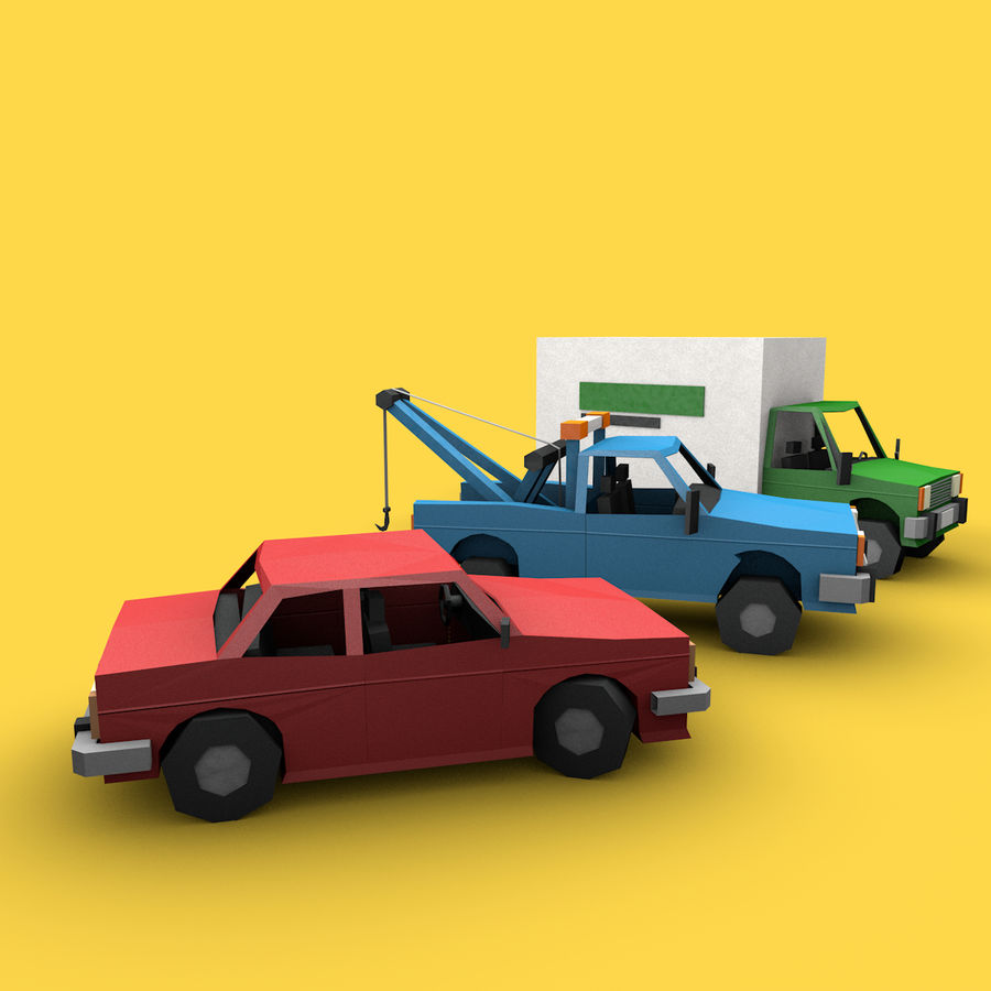 Paper vehicles (cartoon) royalty-free 3d model - Preview no. 3