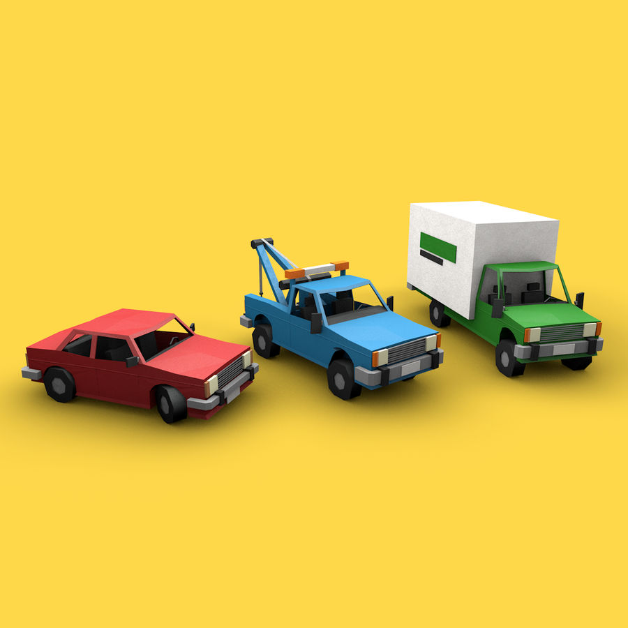 Paper vehicles (cartoon) royalty-free 3d model - Preview no. 2
