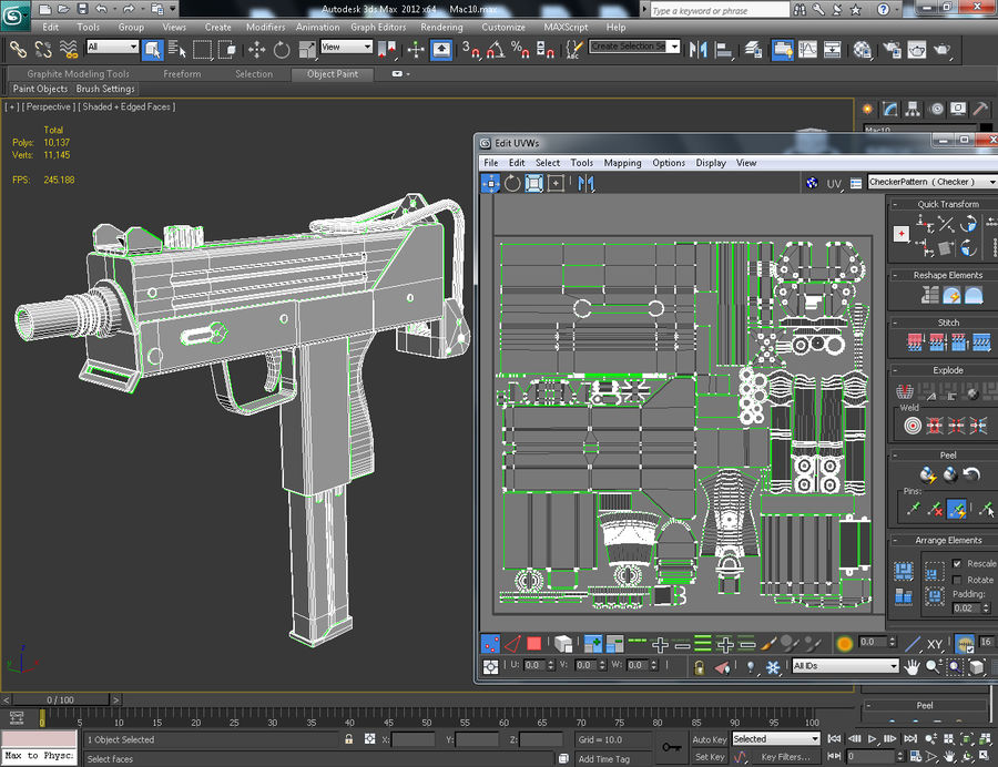 Pistola Mac 10 royalty-free modelo 3d - Preview no. 8