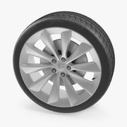 Roda de turbina de prata de Tesla 3d model