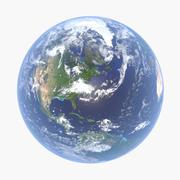 雲/地形/大気/ライトを備えた写実的な地球(4K) 3d model