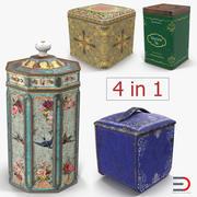 Vintage te- och kaffekärssamling 3d model