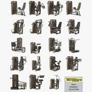 Academia de coleta de força Technogym grupo ARTIS, conjunto completo 19 itens 3d model