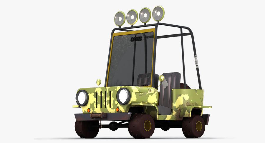 Мультфильм военный автомобиль royalty-free 3d model - Preview no. 2