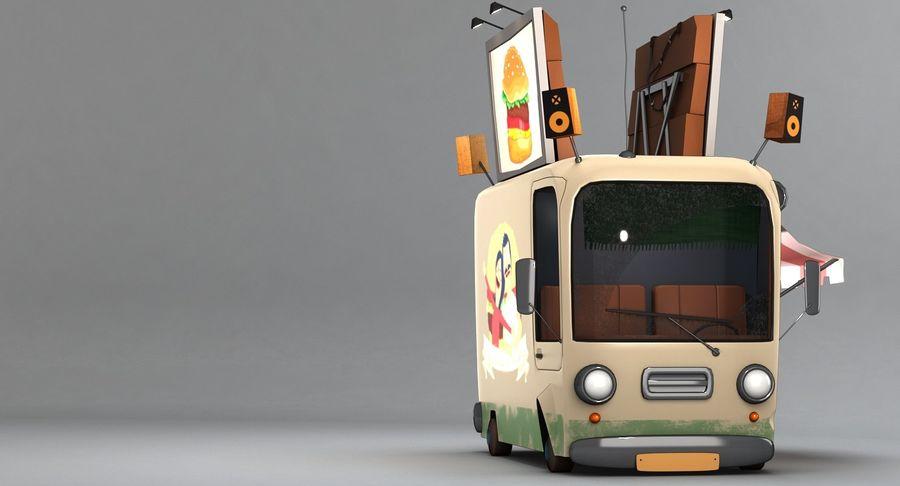 Cartoon Burger Bus royalty-free 3d model - Preview no. 10