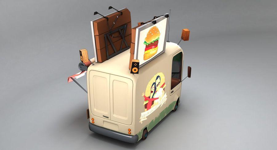 Cartoon Burger Bus royalty-free 3d model - Preview no. 6