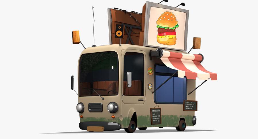 Cartoon Burger Bus royalty-free 3d model - Preview no. 2