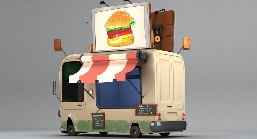 Cartoon Burger Bus royalty-free 3d model - Preview no. 4