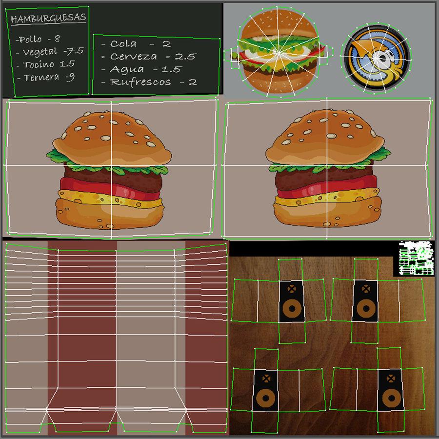 Cartoon Burger Bus royalty-free 3d model - Preview no. 17