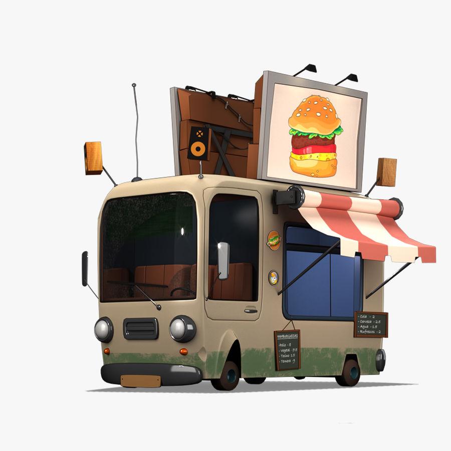 Cartoon Burger Bus royalty-free 3d model - Preview no. 1