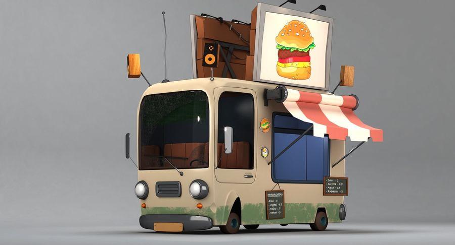 Cartoon Burger Bus royalty-free 3d model - Preview no. 3