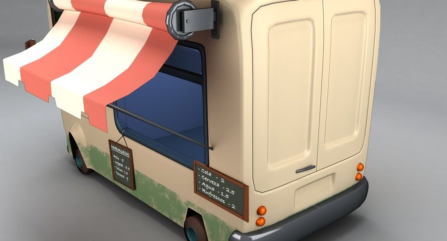 Cartoon Burger Bus royalty-free 3d model - Preview no. 9