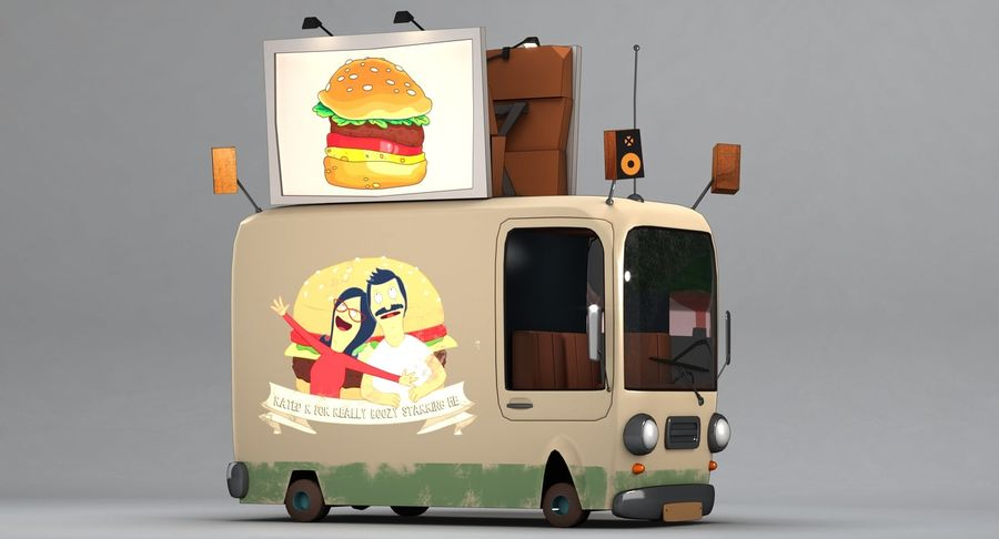 Cartoon Burger Bus royalty-free 3d model - Preview no. 5
