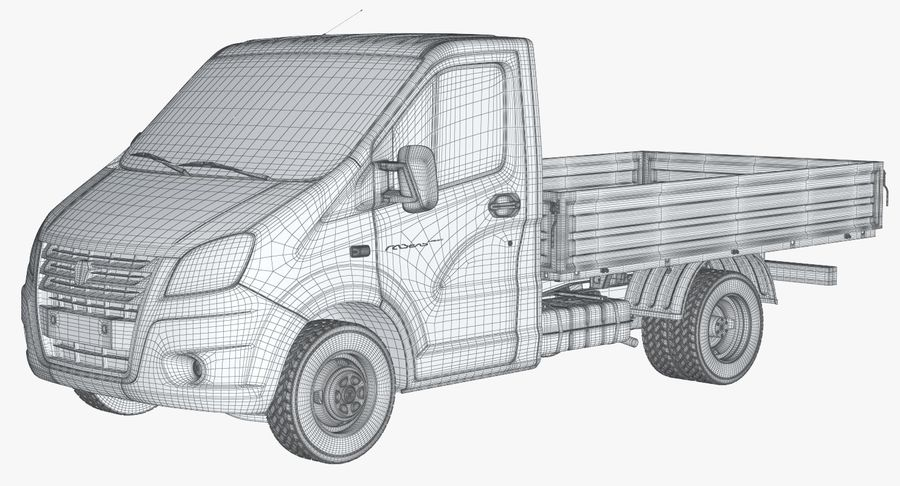 Gazzele Drop Side Truck royalty-free 3d model - Preview no. 18