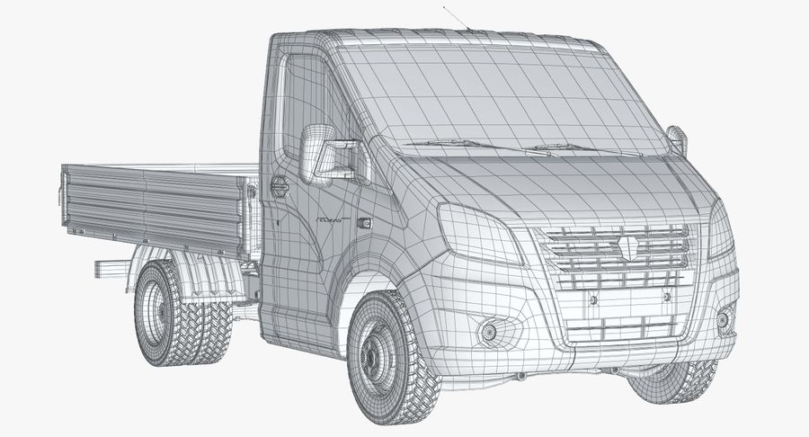 Gazzele Drop Side Truck royalty-free 3d model - Preview no. 13