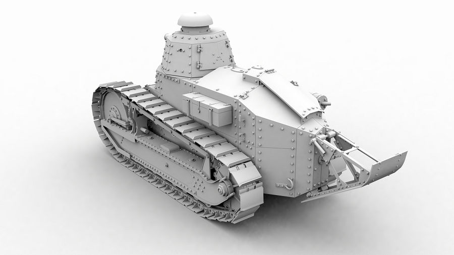 Renault FT-17 royalty-free 3d model - Preview no. 2