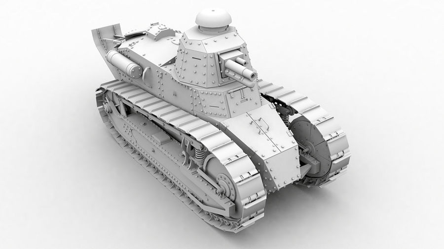 Renault FT-17 royalty-free 3d model - Preview no. 4
