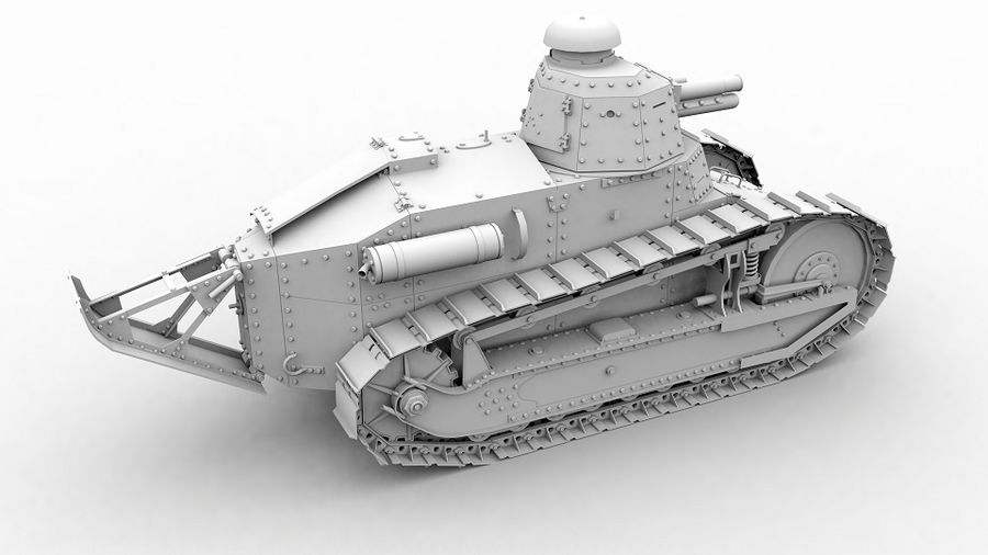 Renault FT-17 royalty-free 3d model - Preview no. 3
