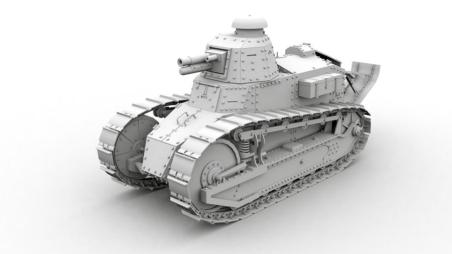 Renault FT-17 royalty-free 3d model - Preview no. 1