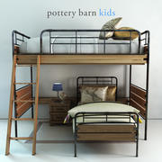 Pottery Barn, Owen Twin Loft et ensemble de lit inférieur 3d model