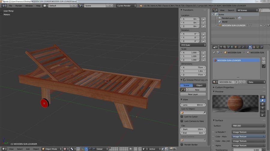 木制太阳椅1 royalty-free 3d model - Preview no. 9
