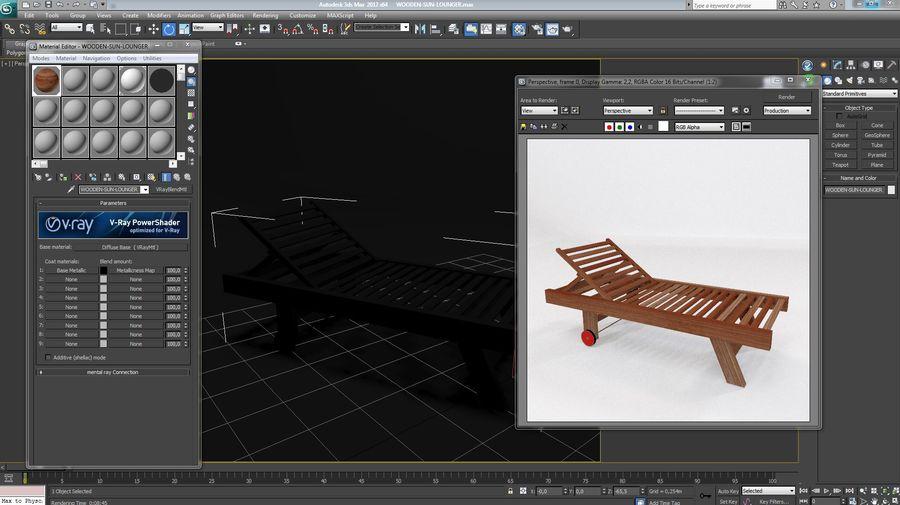 木制太阳椅1 royalty-free 3d model - Preview no. 11