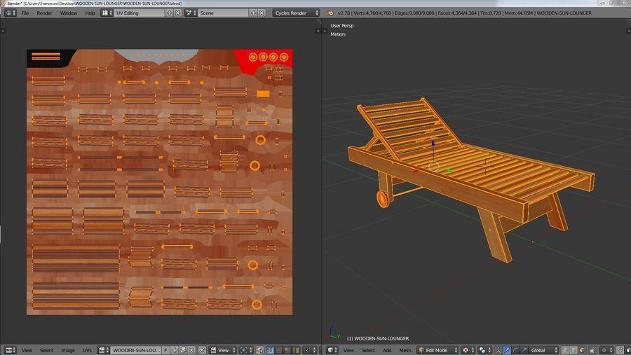木制太阳椅1 royalty-free 3d model - Preview no. 10