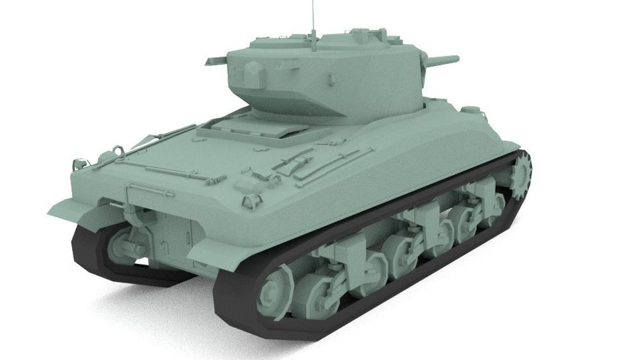 M4 Sherman Tank royalty-free 3d model - Preview no. 4