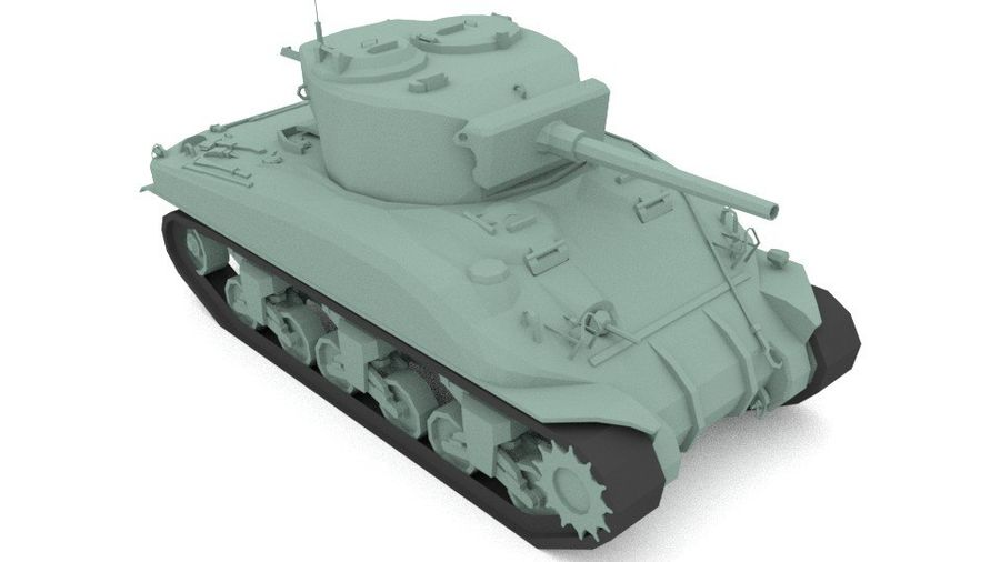 M4 Sherman Tank royalty-free 3d model - Preview no. 2
