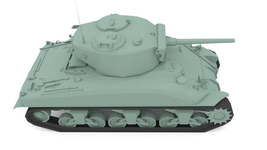 M4 Sherman Tank royalty-free 3d model - Preview no. 3