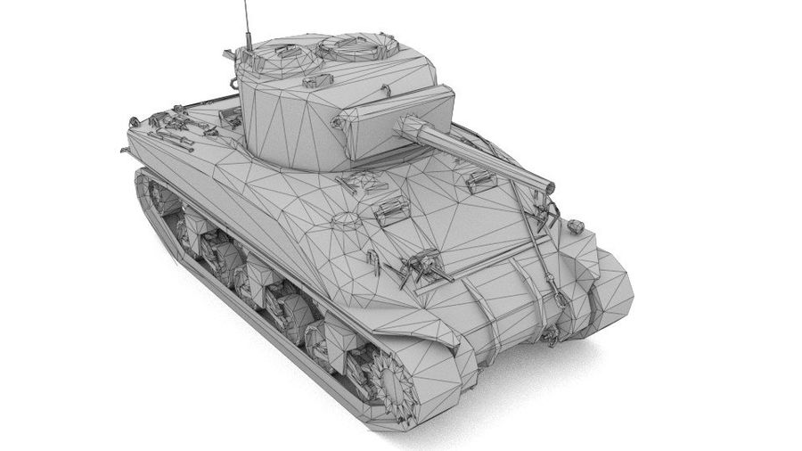 M4 Sherman Tank royalty-free 3d model - Preview no. 5
