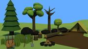 Zasoby leśne Low poly 3d model