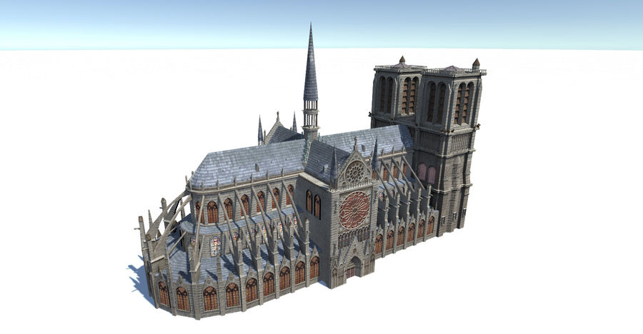 Notre Dame royalty-free 3d model - Preview no. 3