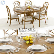 Hooker Retropolitan Extended Table & Chairs 3d model