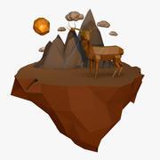 Cervo basso poli con paesaggio 3d model
