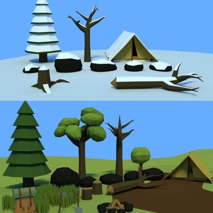 Low poly forest assets complete pack royalty-free 3d model - Preview no. 1