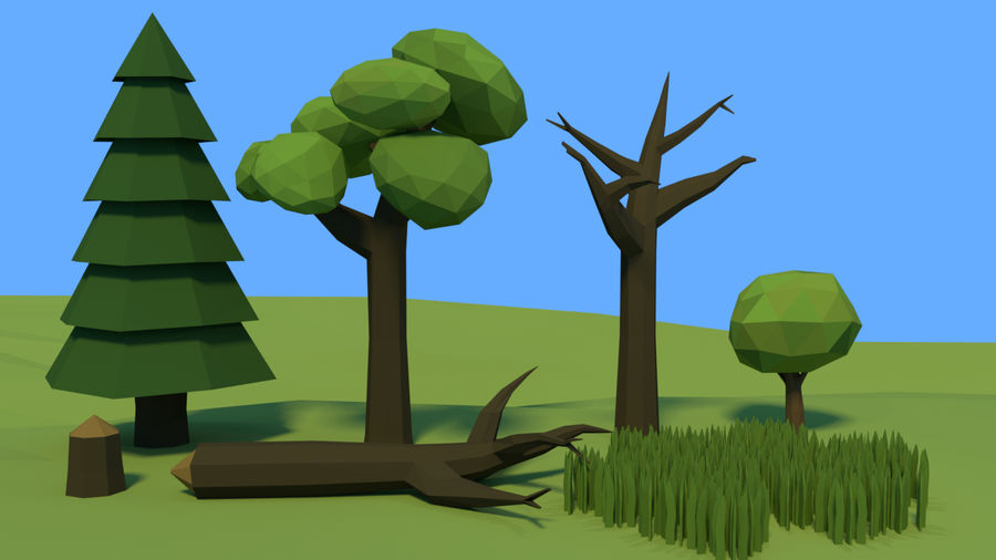 Low poly forest assets complete pack royalty-free 3d model - Preview no. 7