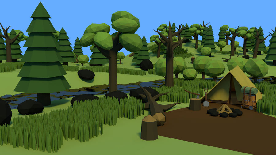 Low poly forest assets complete pack royalty-free 3d model - Preview no. 2