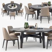 Poliform Sophie chair Home Hotel table 3d model