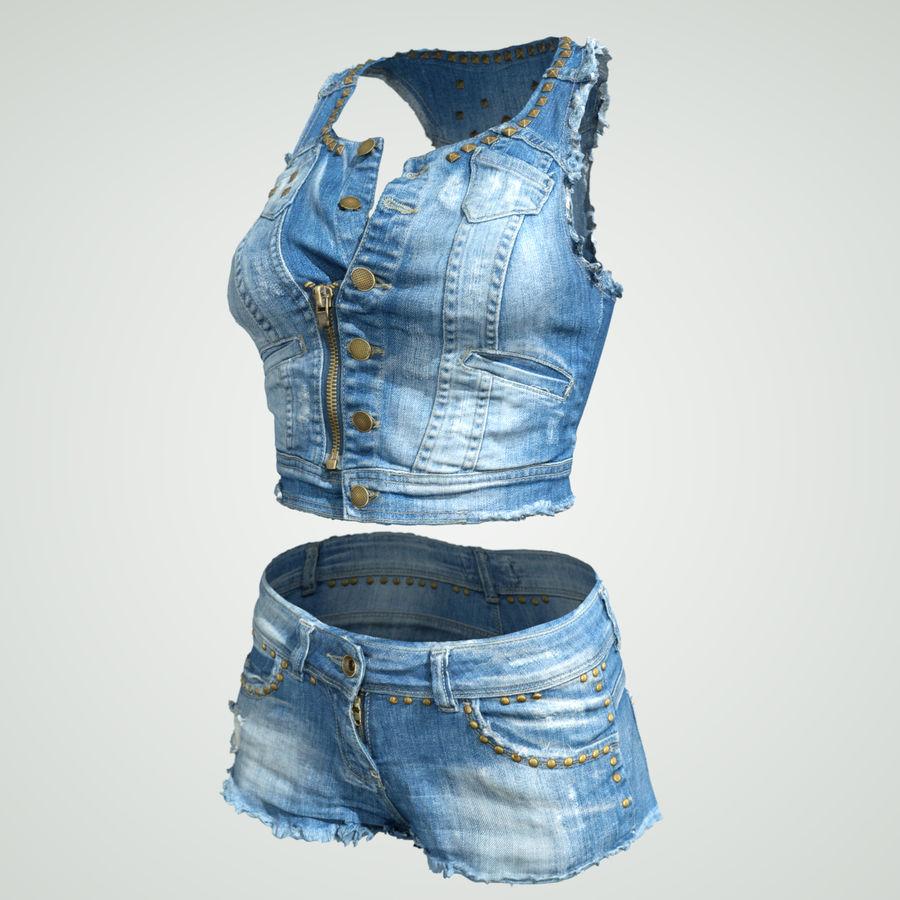 Jeans cortos y top royalty-free modelo 3d - Preview no. 2