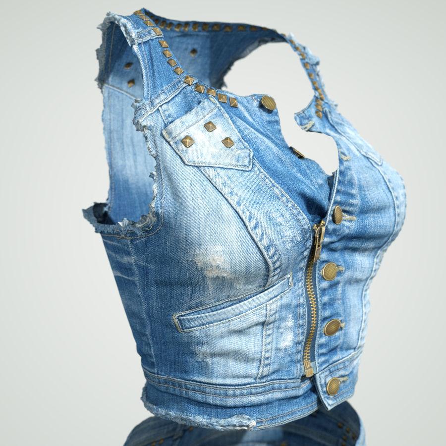 Jeans cortos y top royalty-free modelo 3d - Preview no. 12