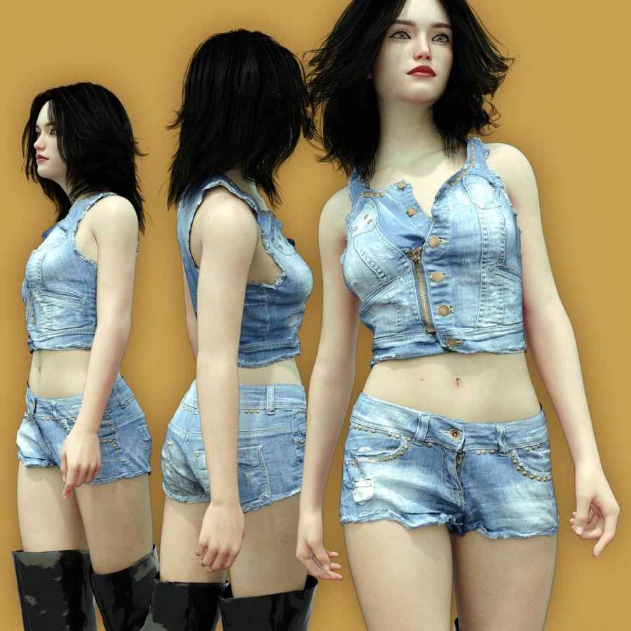 Jeans cortos y top royalty-free modelo 3d - Preview no. 1