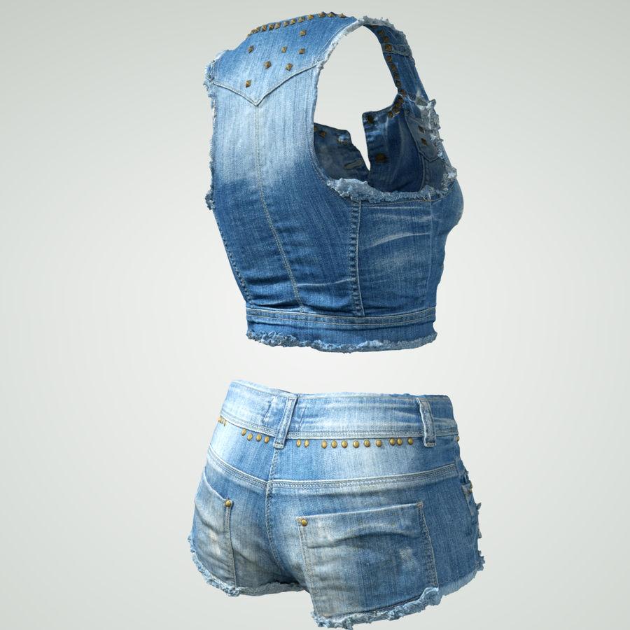 Jeans cortos y top royalty-free modelo 3d - Preview no. 9
